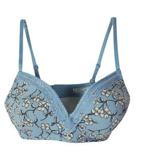 Lucky Brand Bra 36B Blue Floral Lightly Padded